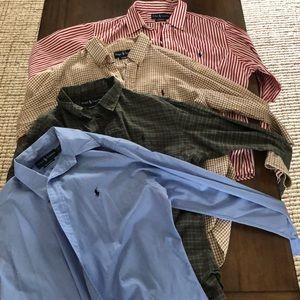 Four Ralph Lauren Polo custom fit dress shirts